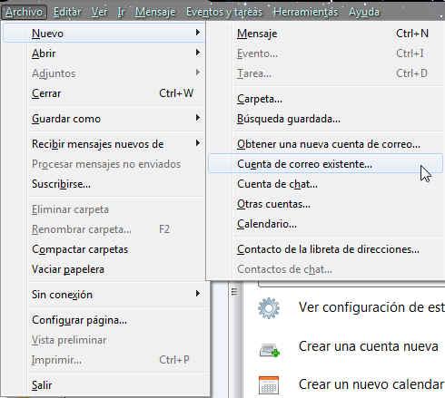 configuracion correo thunderbird