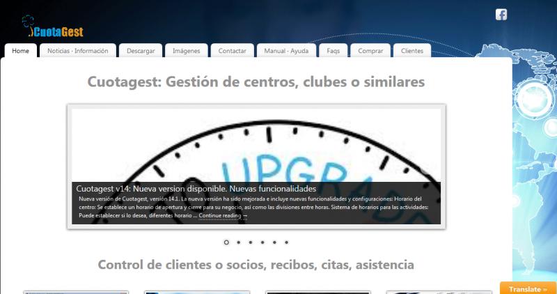 Diseño del portal para el software de gestión de academias Cuotagest